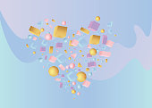 Heart  sign of 3d figures realistic vector primitives composition  with flying objects and  shapes in motion isolated. Material design for web and print futuristic decoration
