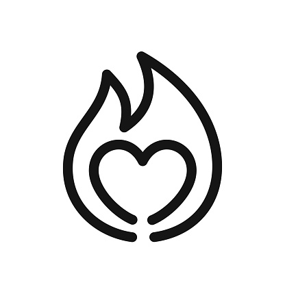 Heart sign on fire, symbol of passion, simple line style black icon