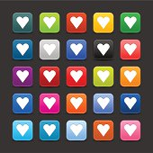 Heart sign rounded square icon web internet button