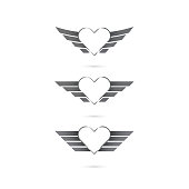 Heart sign with angel wings on background.Vector illustration.