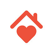 Heart sign with roof, house with heart red icon, love home symbol
