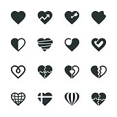 Heart Silhouette Icons Set 2 Vector EPS File.