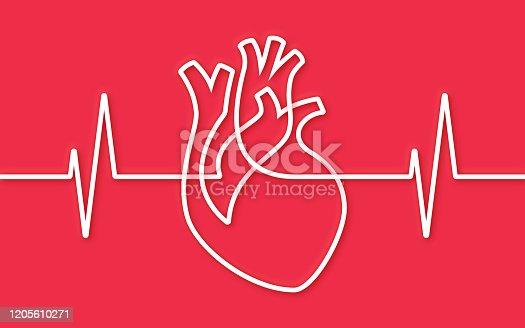 Human heart shape single line pulse trace heart health shape line design background.