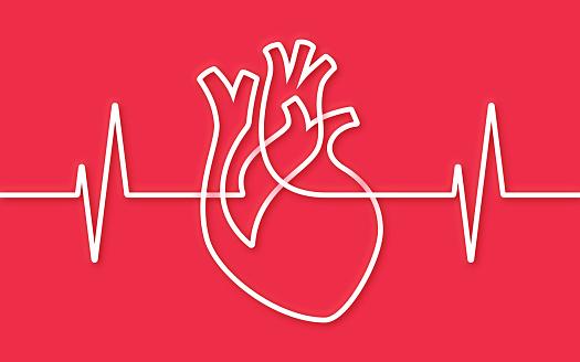 Heart Single Line Pulse Trace Design