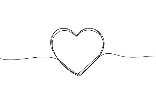 Heart sketch, vector love in line shape. Cute outline doodle heart on white background for valentine, wedding, vintage decoration. Hand drawing design illustration.
