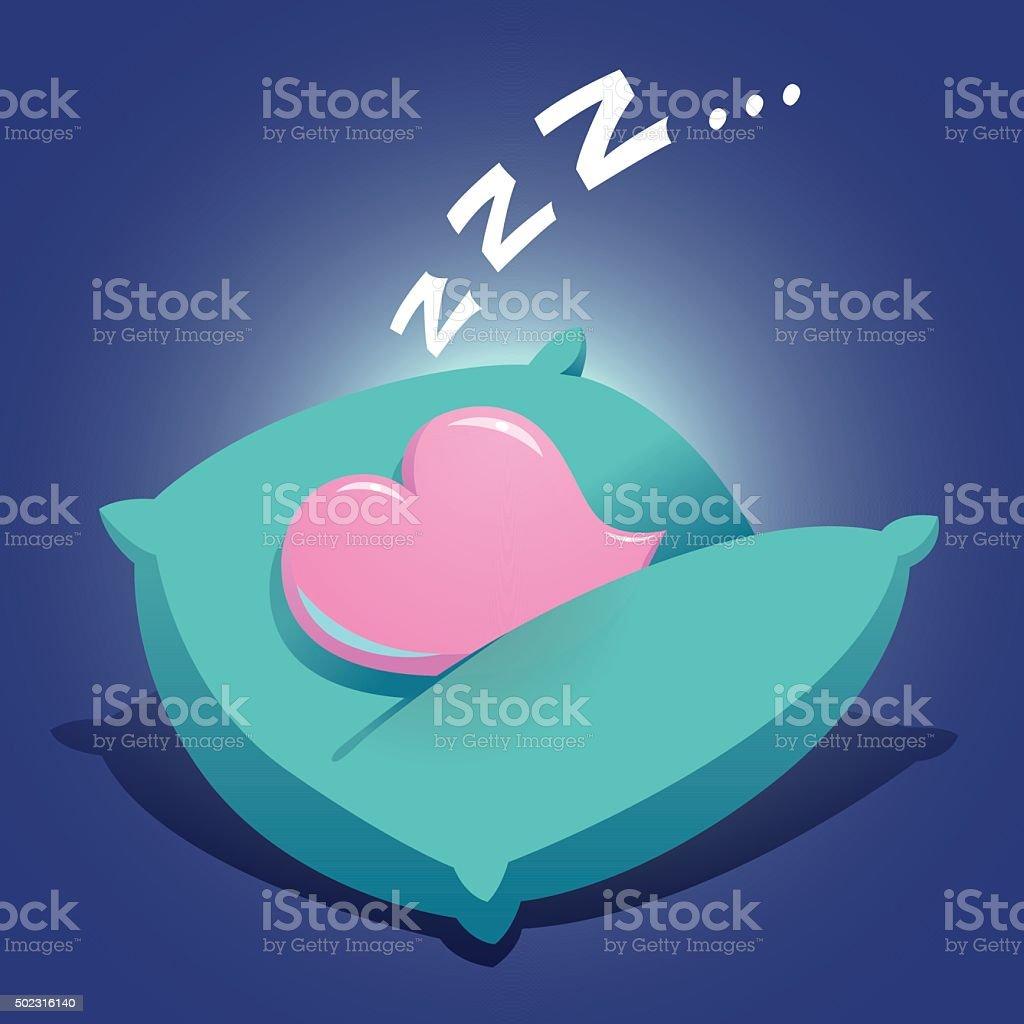 Heart Sleeping On a Cushion vector art illustration