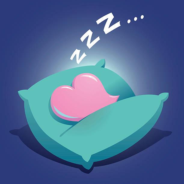 herz schlafen auf einem kissen - herzkissen stock-grafiken, -clipart, -cartoons und -symbole