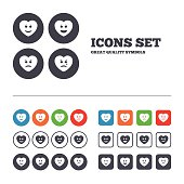 Heart smile face icons. Happy, sad, cry