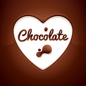 Heart space surrounded with melted chocolate - sweet background.