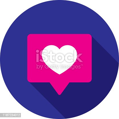 Vector illustration of a pink speech bubble with heart against a blue background in flat style.