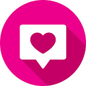 Vector illustration of a pink speech bubble with heart icon in flat style.