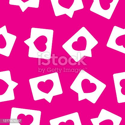 Vector illustration of speech bubbles with heart icons in a repeating pattern against a pink background.