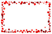 Heart spotted empty red frame for use as a design element. Ideal for valentine card.