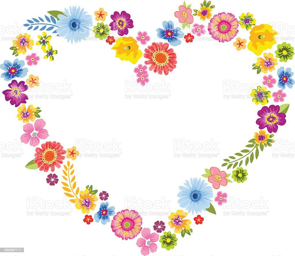 heart spring flower frame stock vector art more images of 2015 535397717 istock. Black Bedroom Furniture Sets. Home Design Ideas