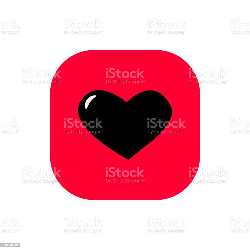 Heart square flat icon vector