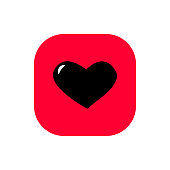 Heart square flat icon vector