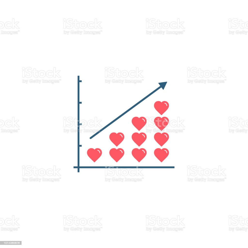 Heart Stacks On Growth Graph Diagram Love Or Health Progress Concept Seed Germination Vector Illustration Royalty