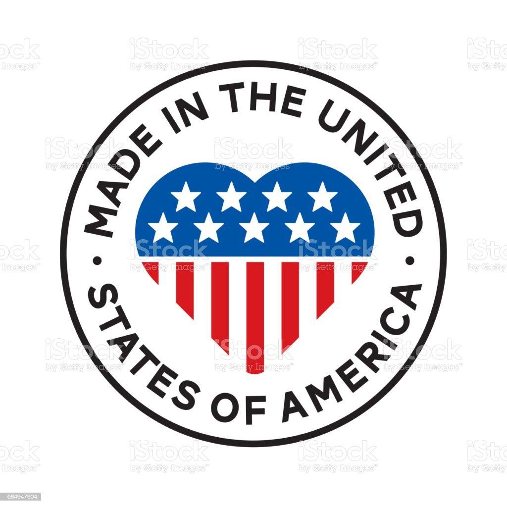 MADE IN USA - Herz Stempel Lizenzfreies made in usa herz stempel stock vektor art und mehr bilder von blau