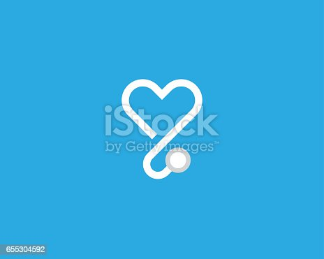 istock Heart stethoscope vector logotype. Linear medical logo design. 655304592