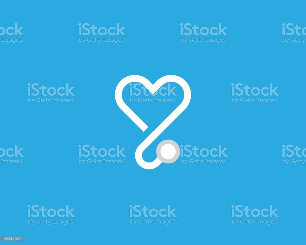 Logo coeur stéthoscope vector. Conception de logo médical linéaire. - Illustration vectorielle