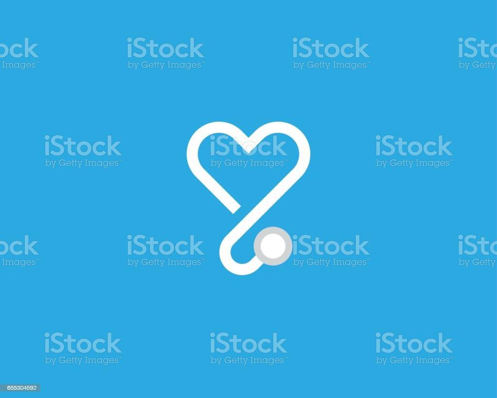 Herz-Stethoskop-Vektor-Logo. Lineare medizinische Logo-Design. – Vektorgrafik