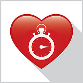 Vector illustration of a white stopwatch on a red heart with a shadow on a white background with a gray border.