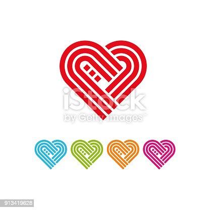 Herzstringsymbol Mit Verschiedenen Farbe Stock Vektor Art und mehr ...