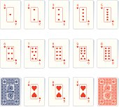 Heart Suit Playing Cards and Backs