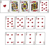 Heart Suit Playing cards in cartoon style