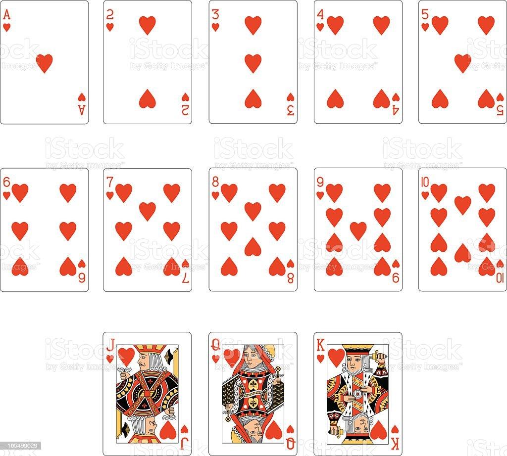 Coração terno duas cartas de baralho - ilustração de arte em vetor