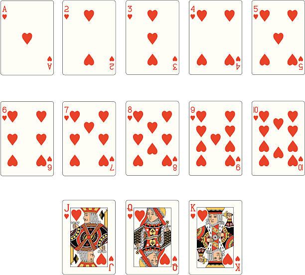 herz anzug zwei karten - kartenspielen stock-grafiken, -clipart, -cartoons und -symbole