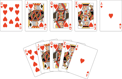 Heart Suit Two Royal Flush Playing Cards