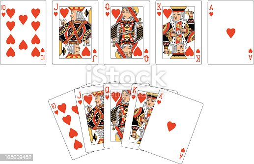 Two examples of a Heart playing card 'Royal Flush'.