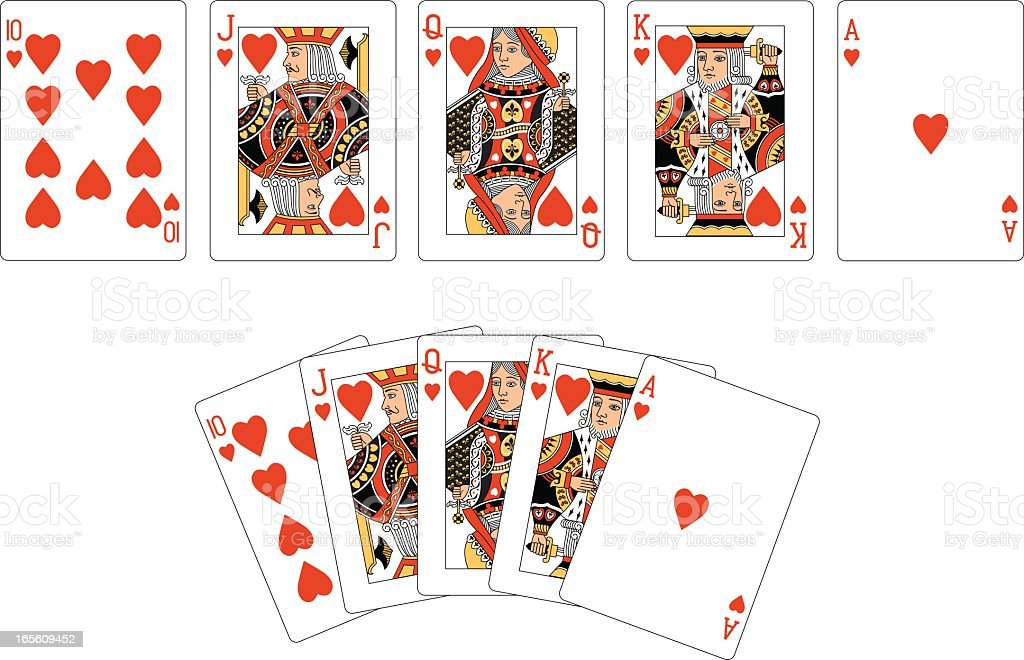 Heart Suit Two Royal Flush Playing Cards vector art illustration