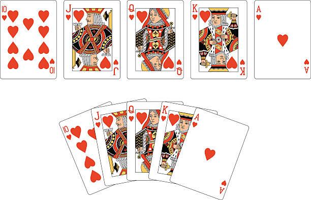 herz anzug zwei royal flush spielkarten - kartenspielen stock-grafiken, -clipart, -cartoons und -symbole