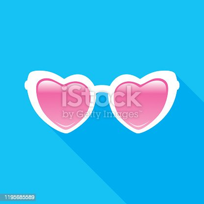 Vector illustration of white heart sunglasses with pink lenses on a blue background.