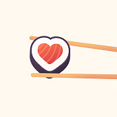 Chopsticks holding heart shaped sushi roll. Love sushi vector illustration.