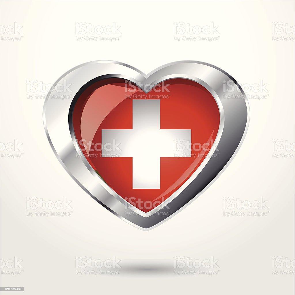 Heart Switzerland flag chrome. royalty-free stock vector art