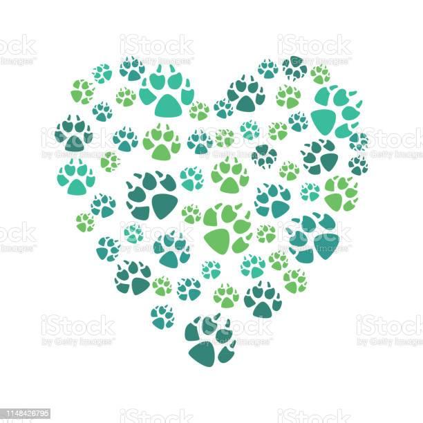 Heart symbol from color prints of a dogs paw domestic or wild animal vector id1148426795?b=1&k=6&m=1148426795&s=612x612&h=j01qiodilgxzblzw3xh4pkhnri4kdzpnyeiq0ljqczc=