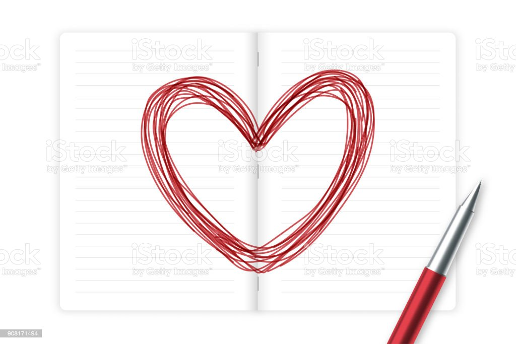 Notebook And Pen Sketch Stock Vector Art More Images Of: Heart Symbol Hand Drawing By Pen Sketch Red Color With