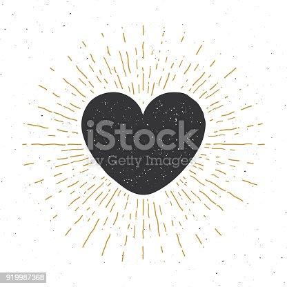 Heart symbol hand drawn sketch doodle. Vintage label, grunge textured retro badge, typography design vector illustration