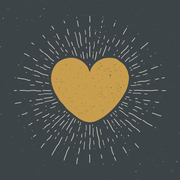 illustrazioni stock, clip art, cartoni animati e icone di tendenza di heart symbol hand drawn sketch doodle. vintage label, grunge textured retro badge, typography design vector illustration - accudire