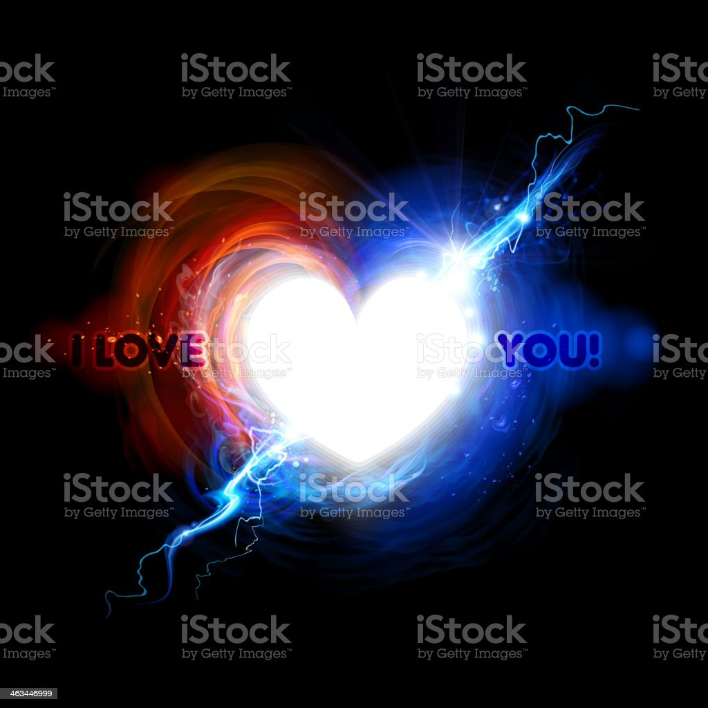 Heart Symbol In Fire And Lightning Effect Stock Vector Art More