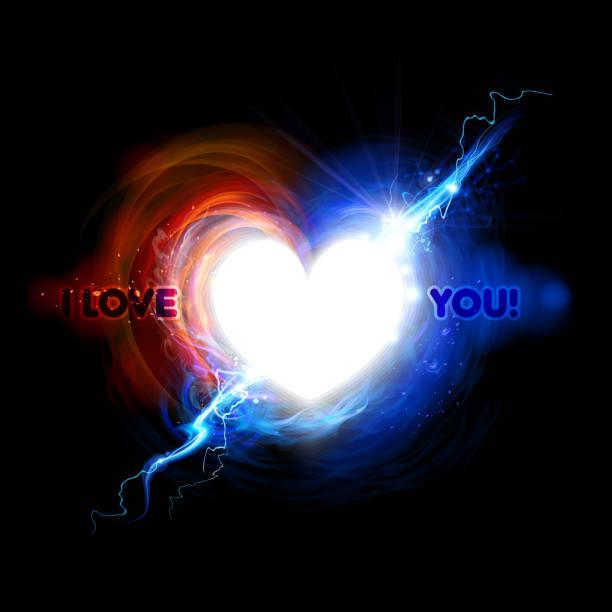 Heart symbol in fire and Lightning effect vector art illustration