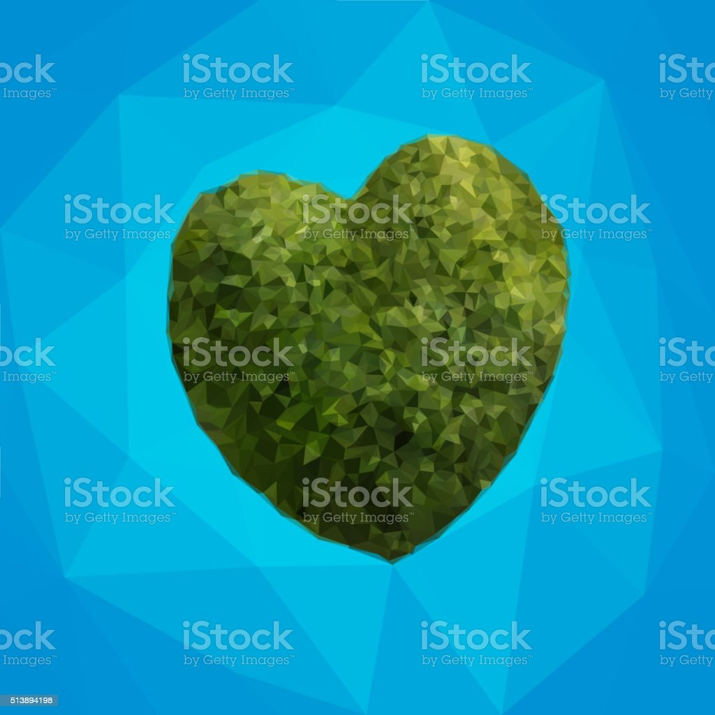 Heart symbol in green triangles Vector vector art illustration