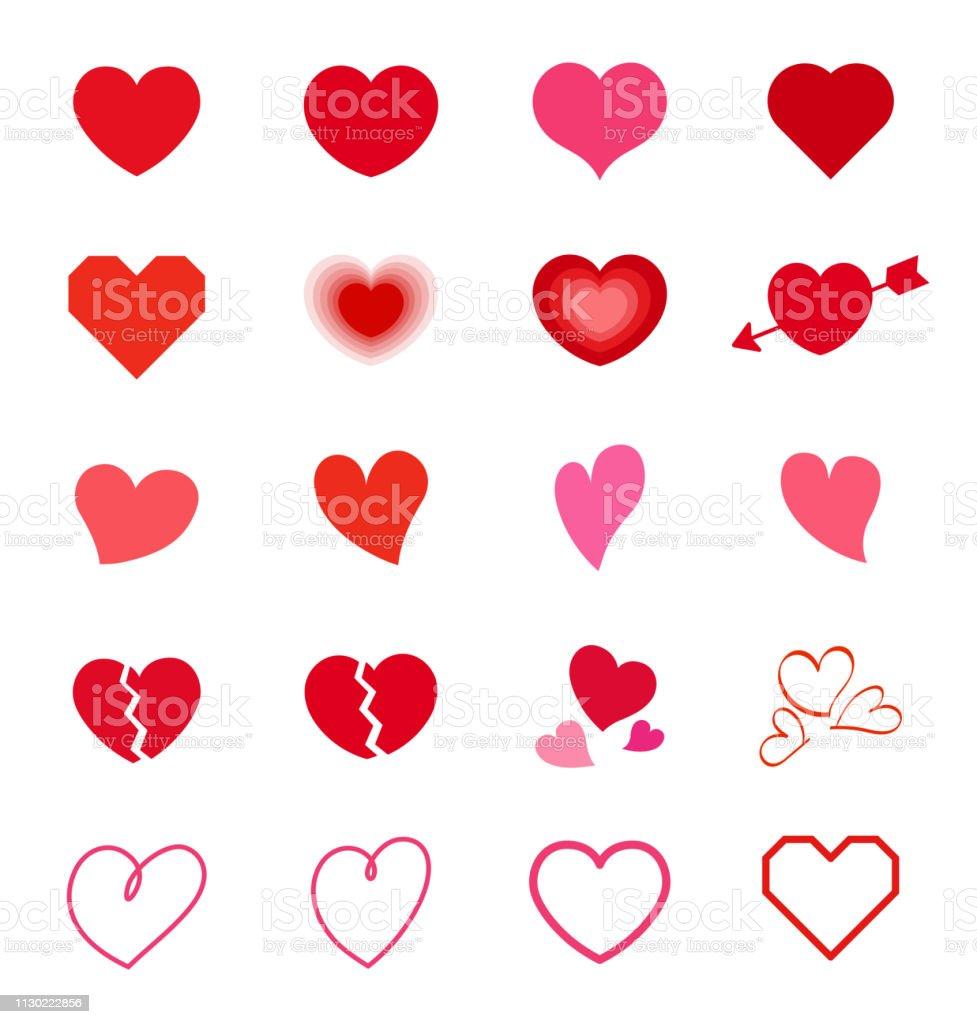Herz-Symbol Mark set - Lizenzfrei Amor Vektorgrafik