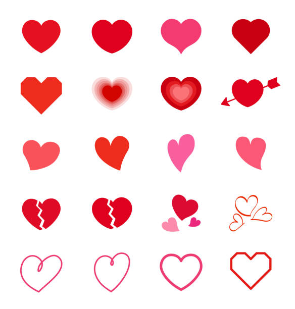 stockillustraties, clipart, cartoons en iconen met hart mark symboolset - heart
