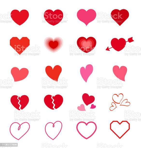 Herzsymbol Mark Set Stock Vektor Art und mehr Bilder von Amor