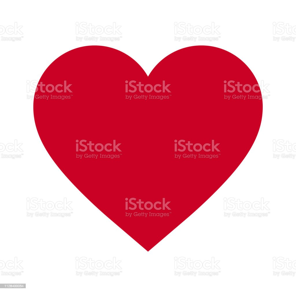 Heart, Symbol of Love and Valentine's Day. Flat Red Icon Isolated on White Background. Vector illustration. - Vector - Royalty-free Amor arte vetorial