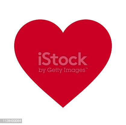 istock Heart, Symbol of Love and Valentine's Day. Flat Red Icon Isolated on White Background. Vector illustration. - Vector 1128400054